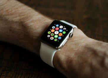 man wearable apple watch display